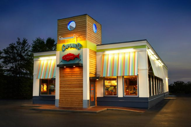 Captain Ds seafood restaurant night exterior
