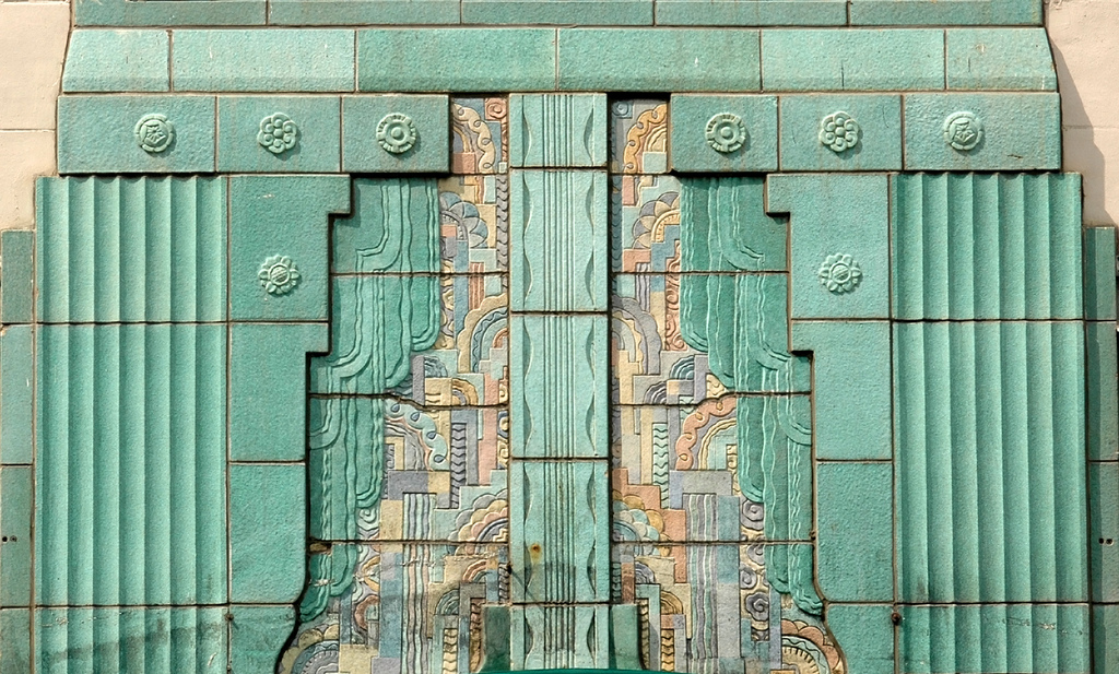 Art deco ornamentation on a building on West Elm Street at State Street in Chicago, Illinois.