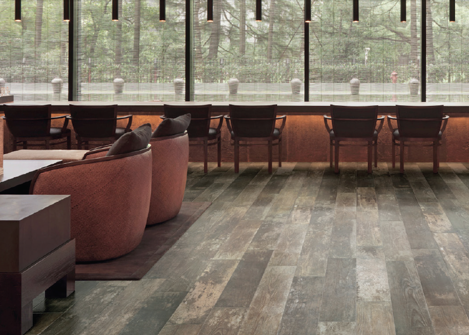 Distressed Floor and Wall Tile - A ruggedly chic quartet of reclaimed timber hues, bringing authenticity and eccentricity to modern, urban settings