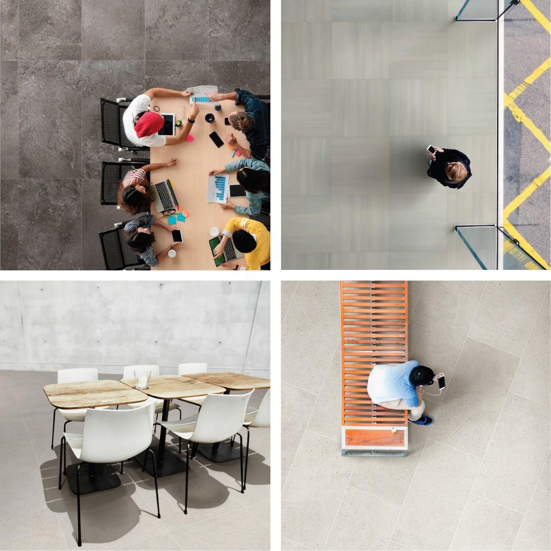 porcelain tile with cement concrete visuals