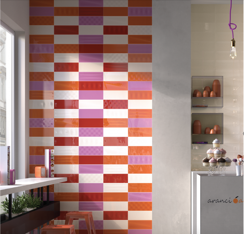 Moda wall tile in pink and orange