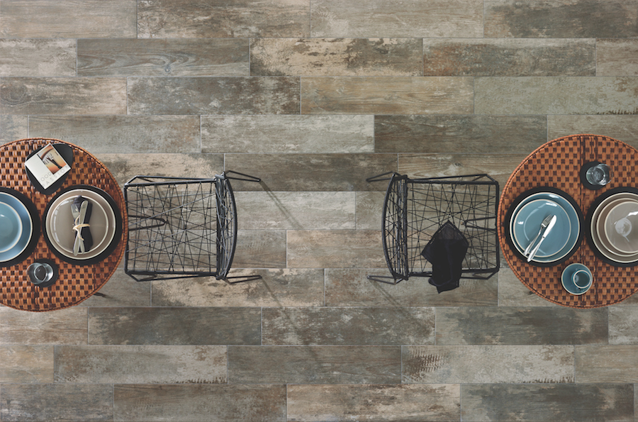 Distressed porcelain tile by GIO