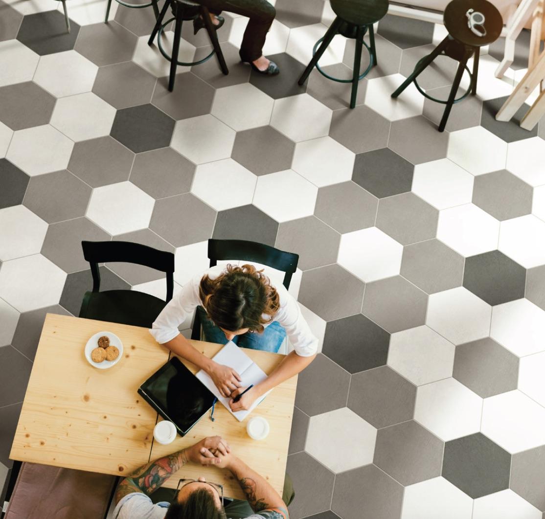 Hex_AG by GIO porcelain tile in Dark Grey, White Argento-