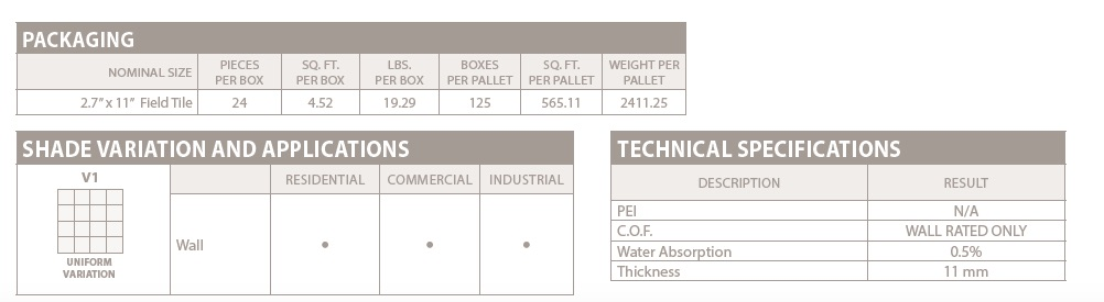 GIO Picket wall tile specs