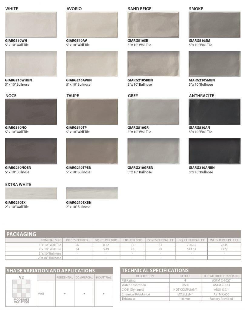 Argille subway tile colors and specs