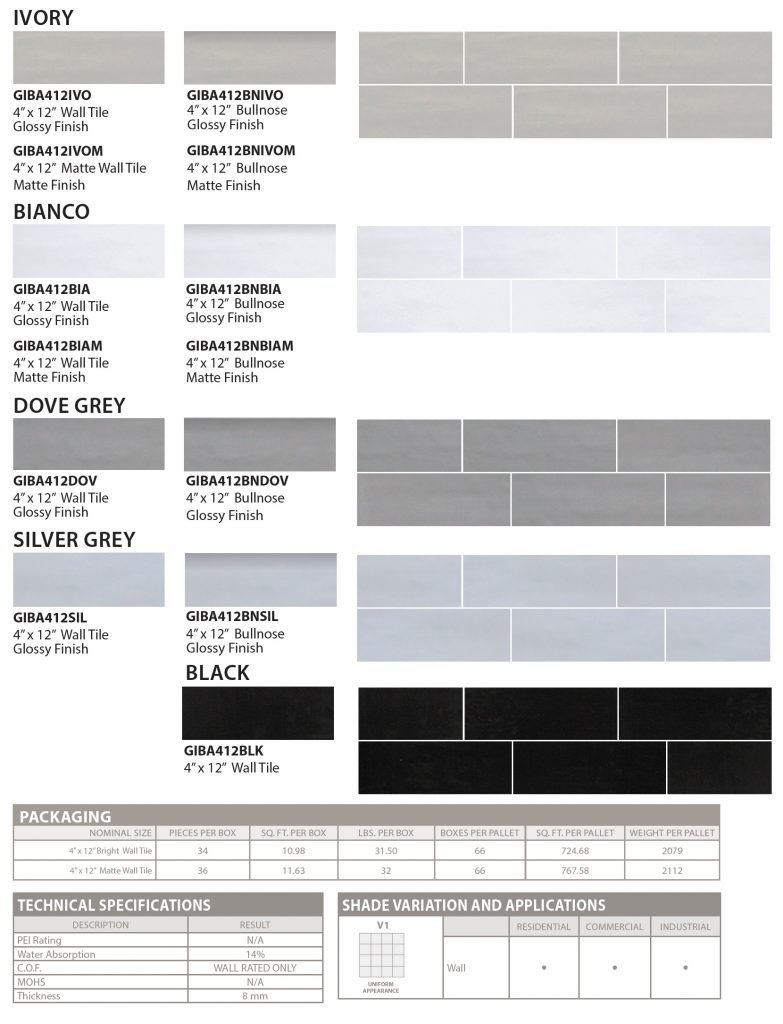 BARISTA by GIO Wall Tile specs and colors