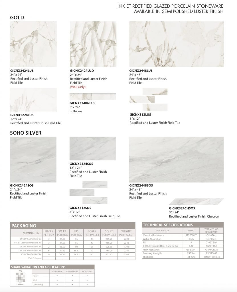 GIO Calacatta floor and wall tile specs and colors