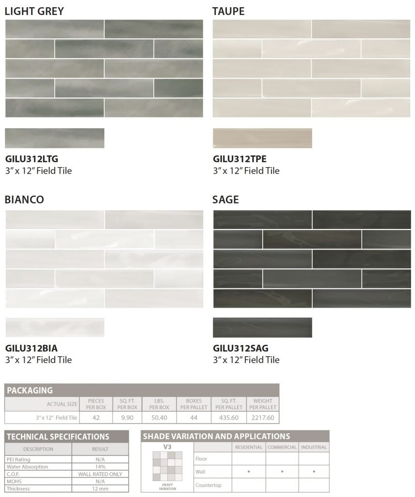 Lustro by GIO floor and wall tile colors and specs