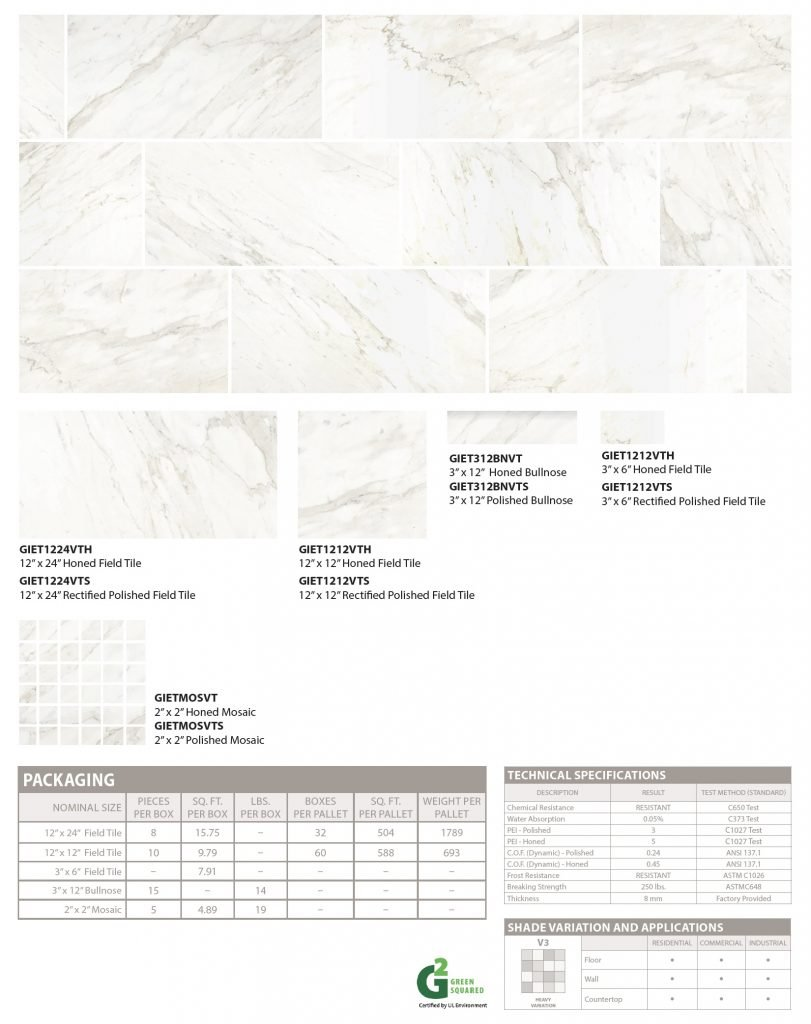 Eternal marble-look porcelain floor and wall tile