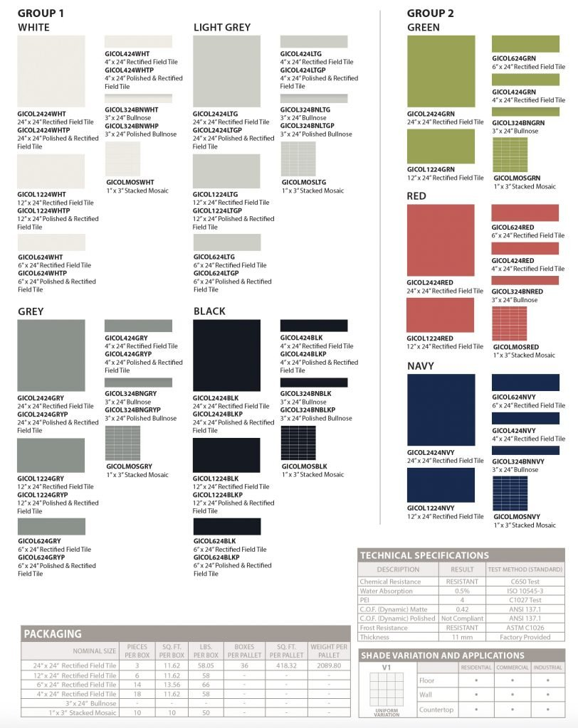 Colori floor tile -specs and colors