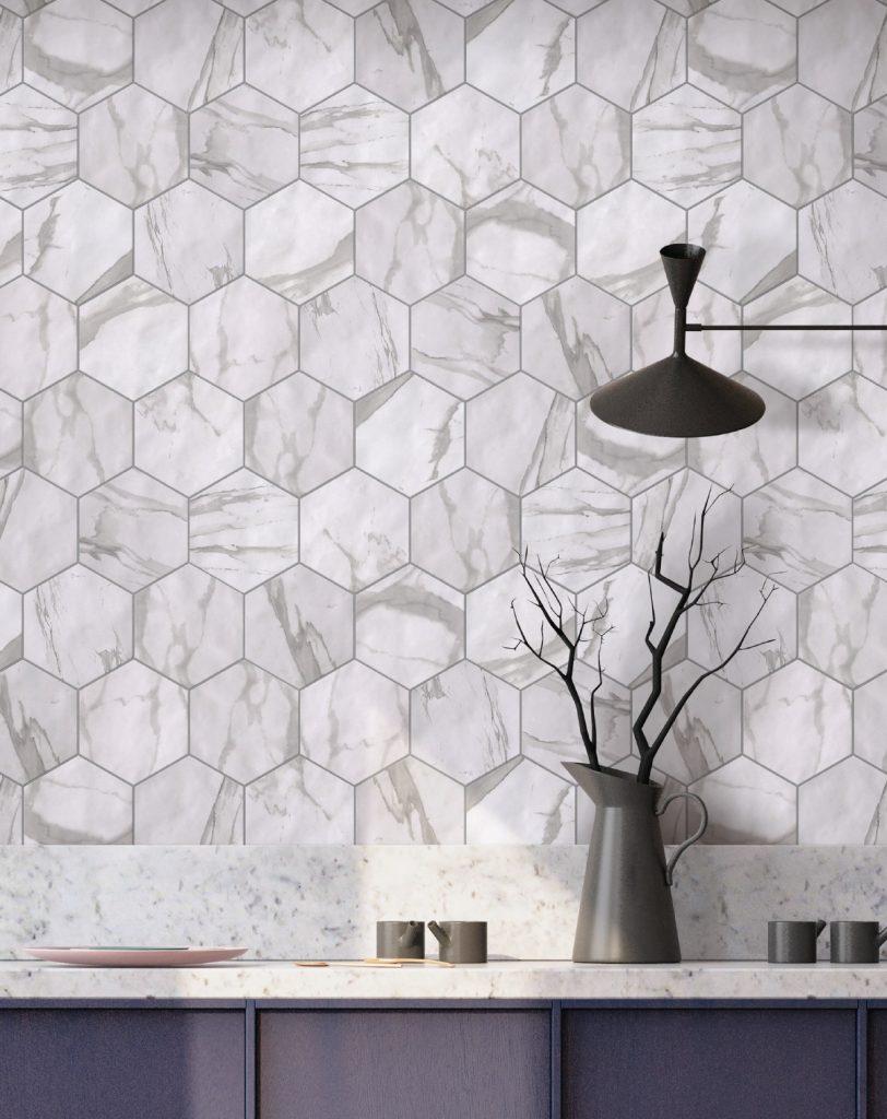 Marmi_Trend in Statuary Hex Field Tile