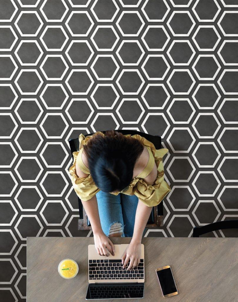 GIO Hex_Frame, Graphite 7x8 Hexagon Framed Decor
