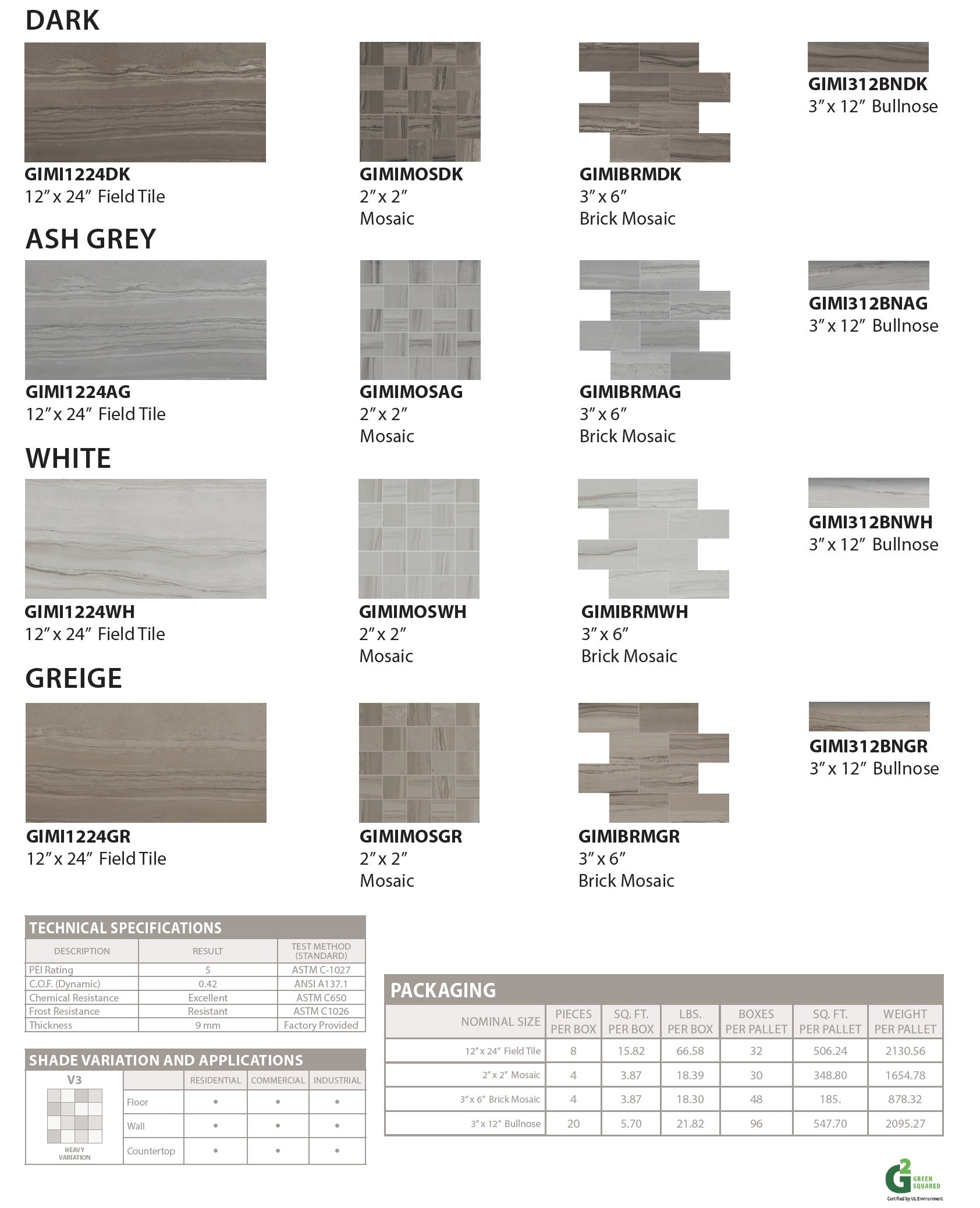 Athena floor and wall tile colors-specs