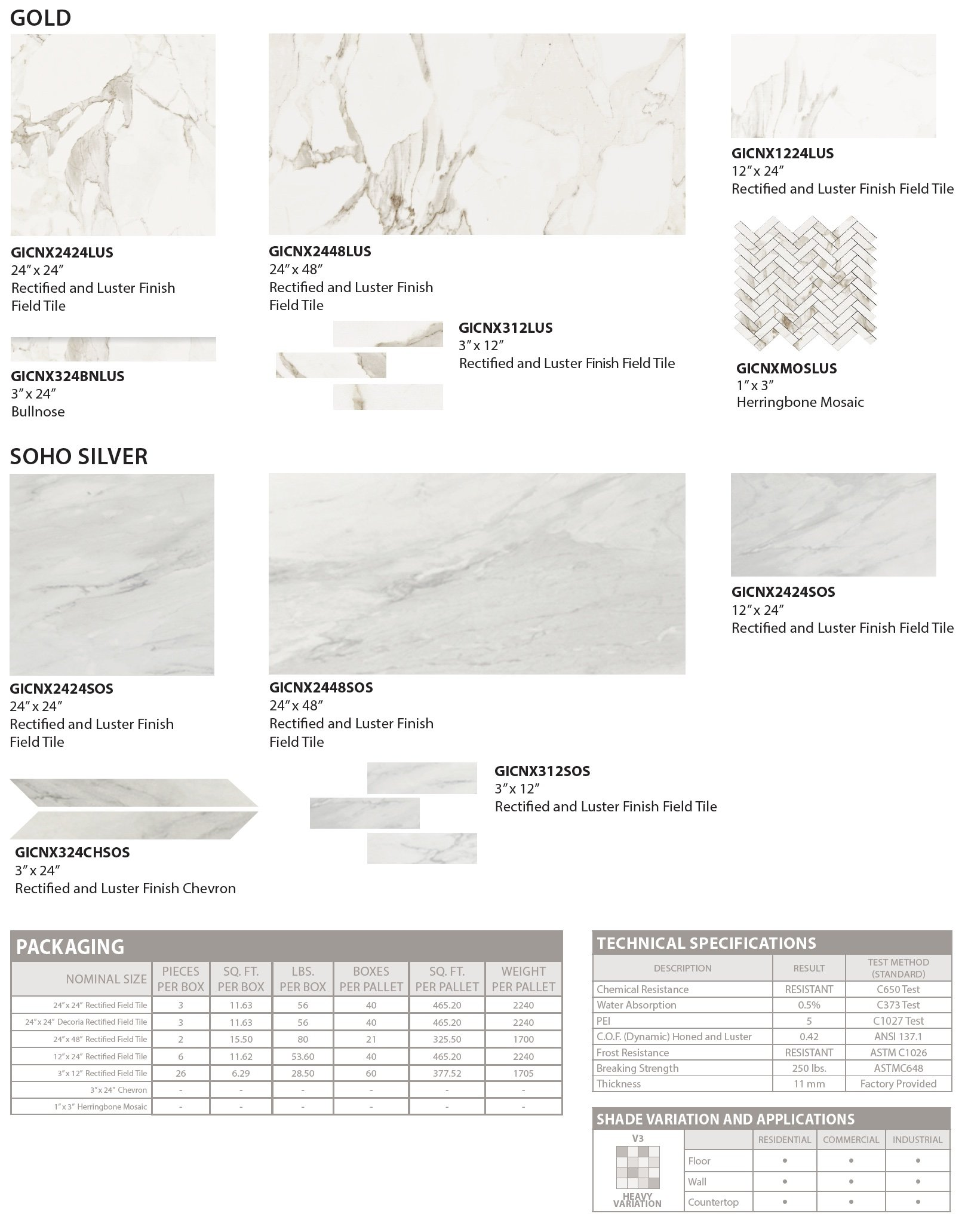 Calacatta floor and wall tile colors and specs