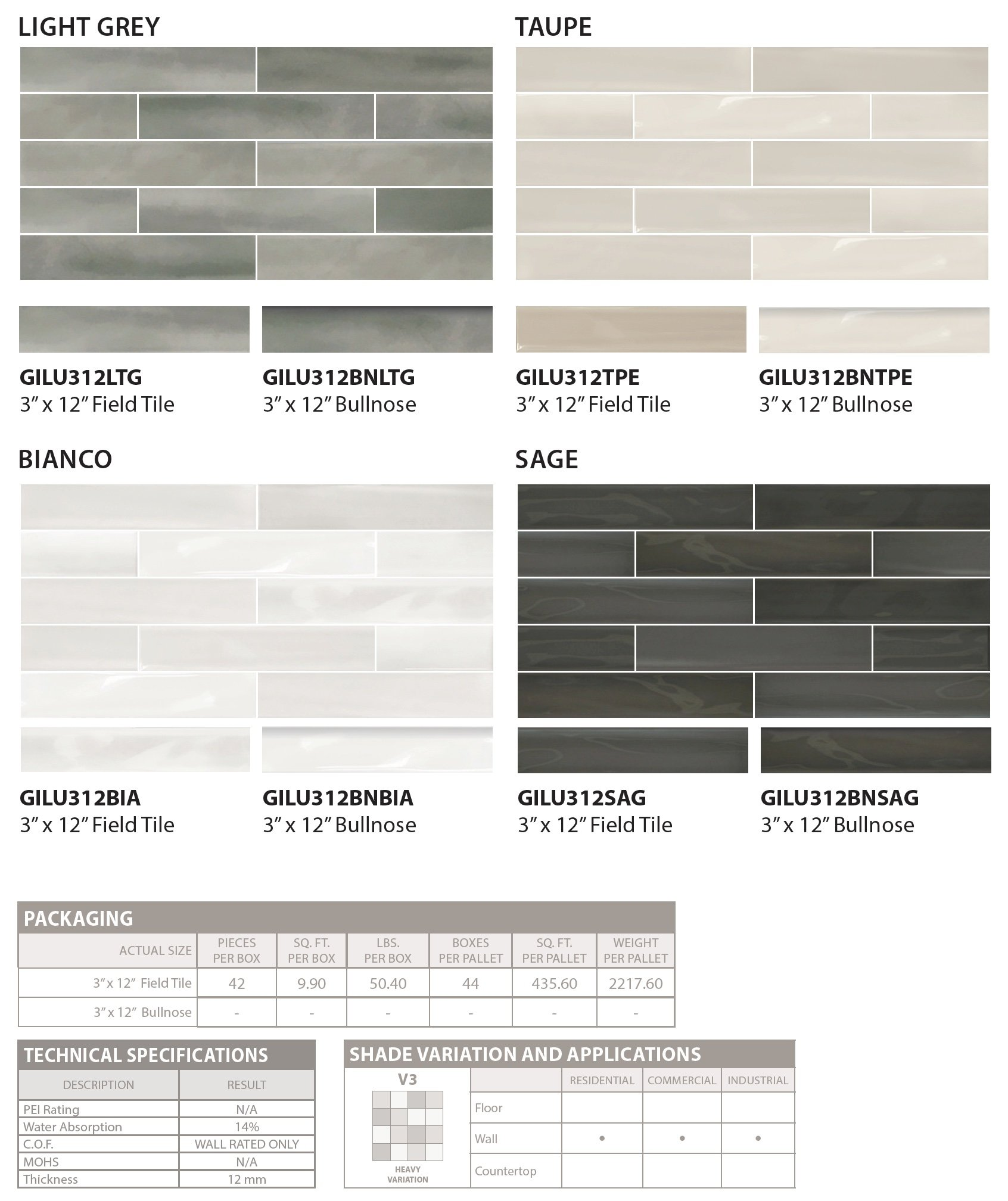 LUSTRO wall tile colors